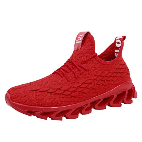 Cebbay Chaussures De Sport pour Hommes Casual Couleur Unie Respirant Léger Remise en Forme Running Chaussures De Course Randonnée en Maille Baskets Bas Anti-Slip(Rouge 1,47 EU)