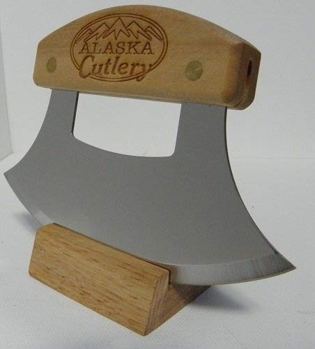 Alaskan Inupiat Style Ulu with Alaska Cutlery Etched Birchwood Handle, 6.25 Inch Blade
