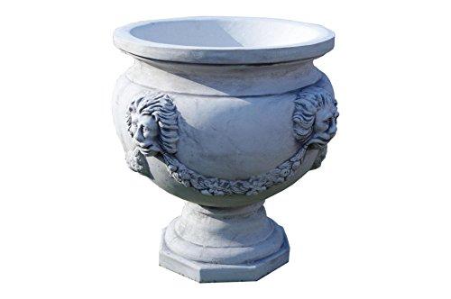 Antikes Wohndesign 2 x Runde Blumenkübel Pflanzkübel Blumentopf Amphore Pflanzschale Steinmöbel H:57cm G: 94KG