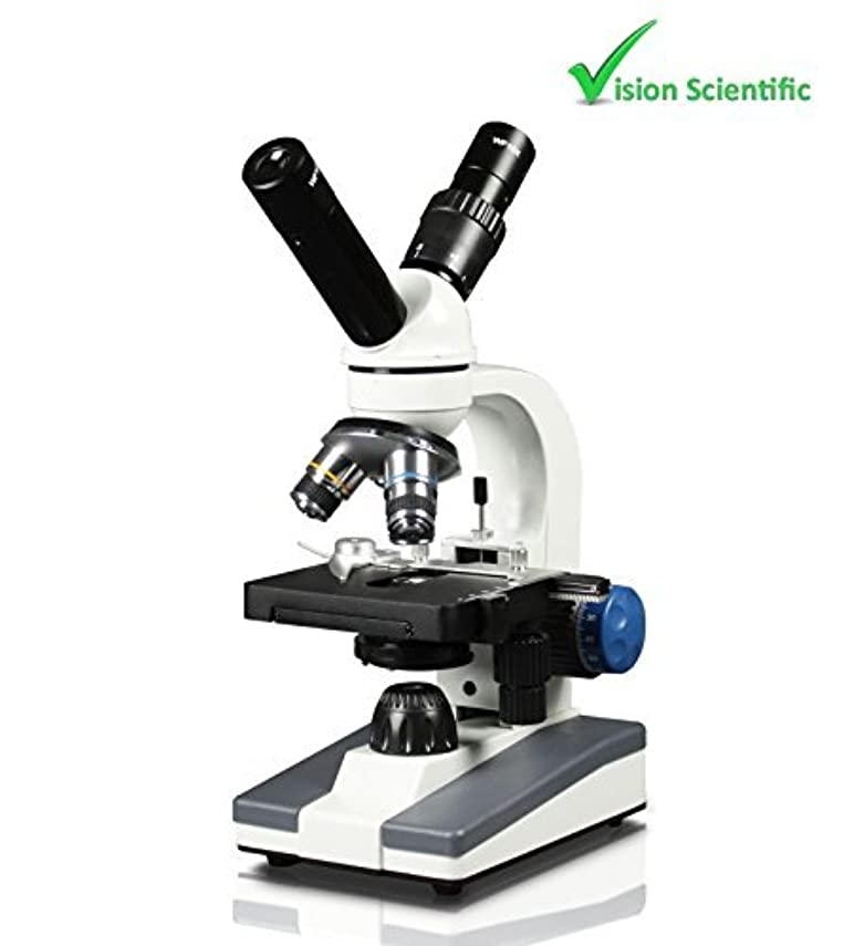 プレゼンテーション驚いた探偵Vision Scientific Dual View Elementary Level Compound Microscope, 10x WF & 25x WF Eyepiece, 40x-1000x Magnification, Brightfield LED Illumination, Mechanical Stage, Rechargeable Battery [並行輸入品]