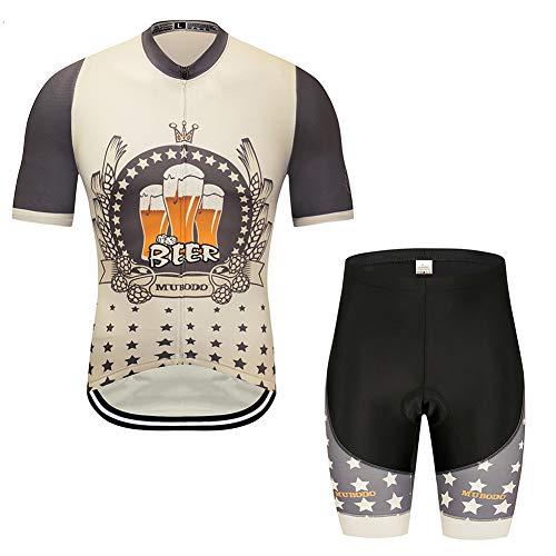 CYCPACK Mann-Sommer-Racing Short Sleeve Bier Radtrikot Suit Pro - Außen Sport Rennrad Jersey, Breathable Shorts Reitsport Combo Set,L