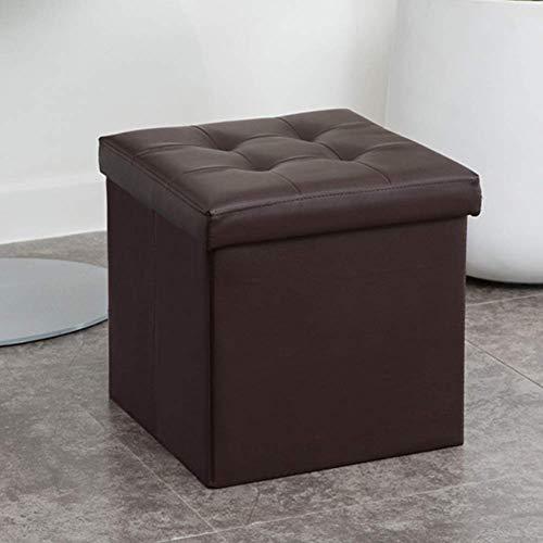 MWPO Puf tapizado Plegable de Cuero con Almacenamiento otomano, puf Taburete Plegable Cuadrado Mesa de Centro para Sala de Estar-Negro 38x38x38cm (15x15x15inch)