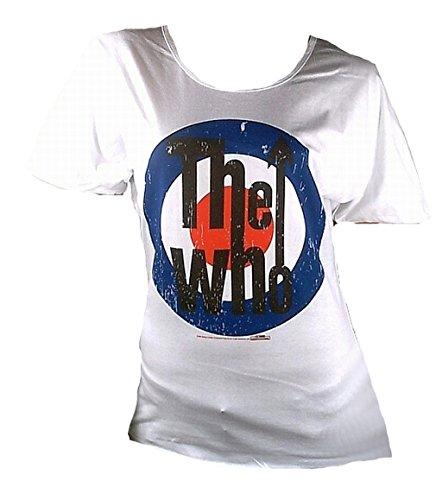 Amplified Damen Lady T-Shirt Oversize Weiss White Official The WHO Merchandise Target Logo Zielscheibe Rock Star Vintage Print VIP S 36/38