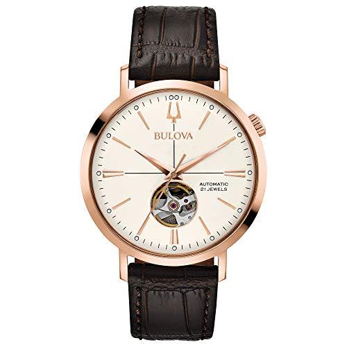 Bulova Herren Analog Automatik Uhr mit Leder Armband 97A136