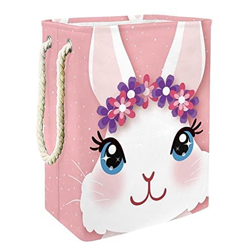 EZIOLY Cesta para la colada con guirnalda, color rosa, plegable, con asas y soportes desmontables, resistente al agua, para la ropa, juguetes, organización en la sala de lavandería, dormitorio