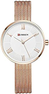Curren 9020 Quartz Movement Round Dial Stainless Steel Strap Waterproof Women Wristwatch -Rose Gold