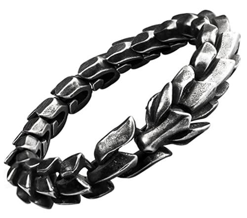 Xinyexinwang Pulsera del dragón Chino en Acero de Titanio para Hombres en joyería de Acero Inoxidable,Black 22cm