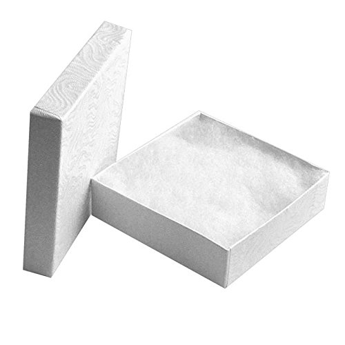 100 Cotton Filled Boxes Size 33, 3.5 x 3.5x 1 , White size #33 by Jewelers Supermarket