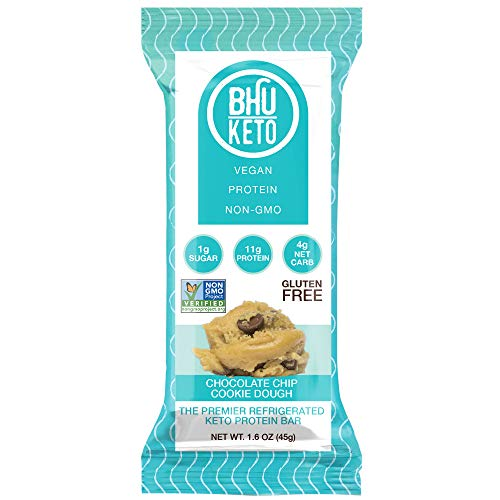 BHU Keto Bars - Chocolate Chip Cookie Dough Refrigerated Protein Snacks (8 pack) - Made Fresh Daily With Natural and...