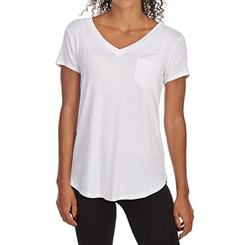 Femme Tresics Women's Pocket V-Neck Short-Sleeve Tee White M