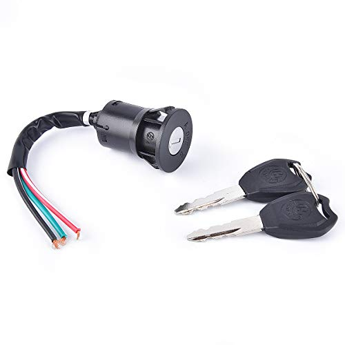3 Wire Ignition Switch Key for 50cc 110cc 125cc 150cc 200cc 250cc Go Kart Dune Buggy Buggies ATV & Dirt Bike Electrical Scooters DIY 3 Positions ON OFF Parking