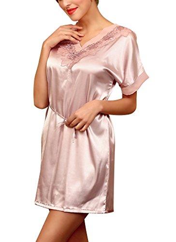 BININBOX Damen Sexy Elegant Nachthemd mit Kurzarm aus Seide Silk Nachtkleid Nachtwäsche mit Spagetti-Trägern Sexy Negligee in 3 Farben (Pink)