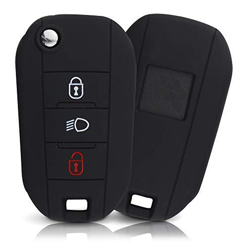 Tapa de la Llave Hecha de Silicona Premium Compatible con Peugeot, Funda Protectora para Llaves de Coche Cubierta para el Tipo de Clave 3BKB-b - Negro