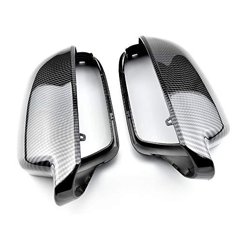 DJQNB Cubiertas de cáscara de Espejo, 2pcs Estilo de Fibra de Carbono Retrovisor Espejo Cubierta de tazón de protección Cap Página de cáscara de estilismo para A3 A4 A5 B 8.5,Carbon Look Black