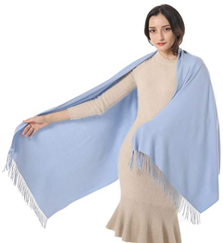 Womens Shawl Wrap Scarf Pashmina Cashmere Large Warm Stole Gift Idea Wedding Favors Christmas Valentine Birthday Party Present Super Soft Elegant Light Blue