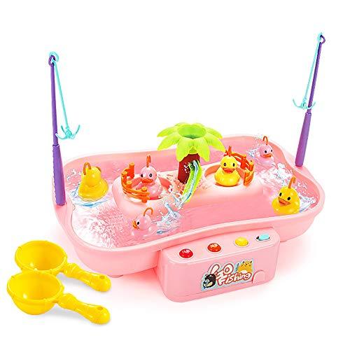 KingbeefLIU Enfant Musique électrique Rotary Fishing Water Inte raction Parent-Enfant Puzzle Jouet,Jouets pour Enfants Red 6 Ducks