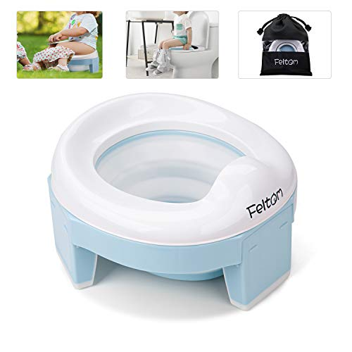 Feltom Potty Training Seat for Toddler Portable Travel Potty Seat for Kids, 3-in-1 Folding Camping Toilet Seat, Trainer Potty Chairs for Travel for Boys and Girls, Easy to Empty and Clean (Blue)