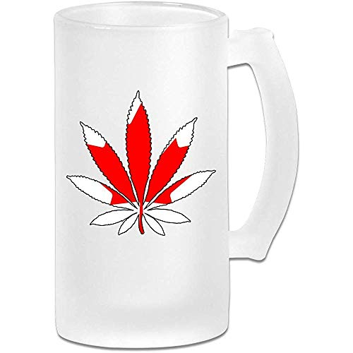 NHJYU Jarra de Cerveza Canada Flag Weed Leaf Frosted Glass Stein Beer Mug - Personalized Custom Pub Mug- Gift for Your Favorite Beer Drinker