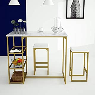 Amolife Modern 3 Piece Counter Dining Table Set with 2 Bar Stools and Metal Frame,Brass Pub Set with Faux Marble Top
