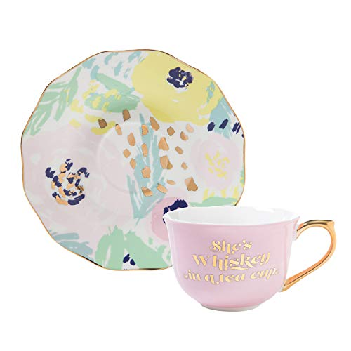 Slant Collections-Ceramic Tea Cup and Saucer Set, 5-Ounce, Whiskey