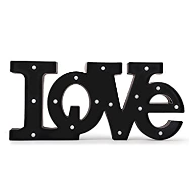 Asense Marquee Lighted Sign Love Shaped LED Word Sign Battery Operated, Black Color,  9.4 X 21 Inches
