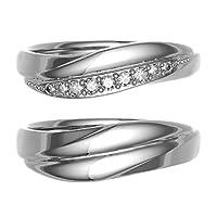 [ココカル]cococaru ペアリング 結婚指輪 シルバー 2本セット マリッジリング ダイヤモンド 日本製(レディースサイズ19号 メンズサイズ4号)