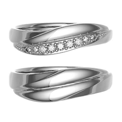 [ココカル]cococaru ペアリング 結婚指輪 シルバー 2本セット マリッジリング ダイヤモンド 日本製(レディースサイズ12号 メンズサイズ19号)