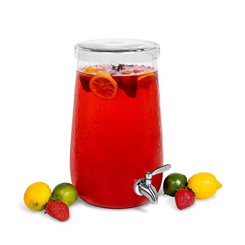 BirdRock Home 1.5 Gallon Hammered Glass Beverage Dispenser with Lid - Stainless Steel Spigot - Decorative Round Jar for Drinks - Lemonade Sangria Tea Water Drink Jar Jug - Home Parties