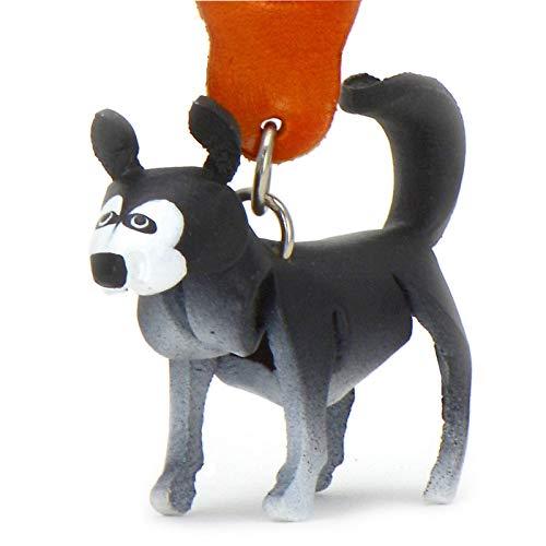 Monkimau Damen Schlüsselanhänger Husky Hunde Figur aus Leder