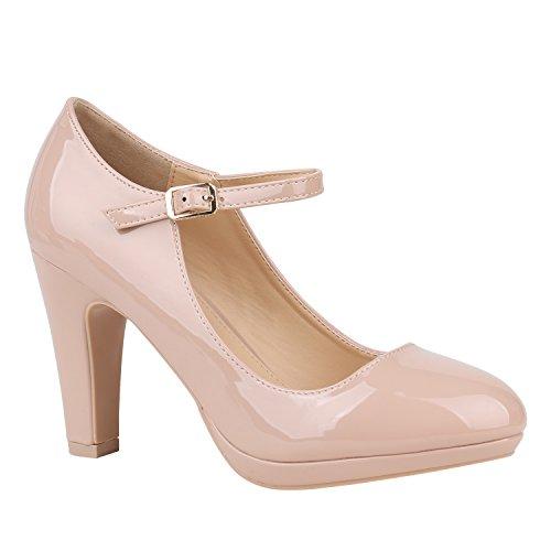 Stiefelparadies Damen Schuhe Pumps Mary Janes Veloursleder-Optik High Heels Blockabsatz 152433 Nude Lack Lack 39 Flandell