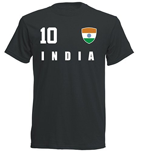Indien WM 2018 T-Shirt Trikot - schwarz ALL-10 - S M L XL XXL (L)