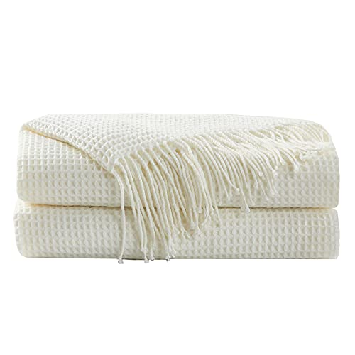 Hansleep Throw Blanket for Couch Sofa Bed Chairs, Soft Fuzzy Knit Blanket with Decorative Tassels...