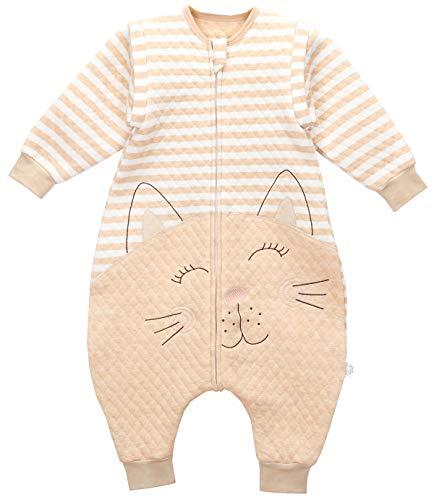 Chilsuessy Baby ganzjahres Schlafsack mit Füßen 1.5 Tog Kinder Schlafsäcke mit abnehmbaren Ärmeln für Säugling Kleinkind Kinder Schlafsack mit Beinen, Braun, 80/Baby Höhe 80-90cm