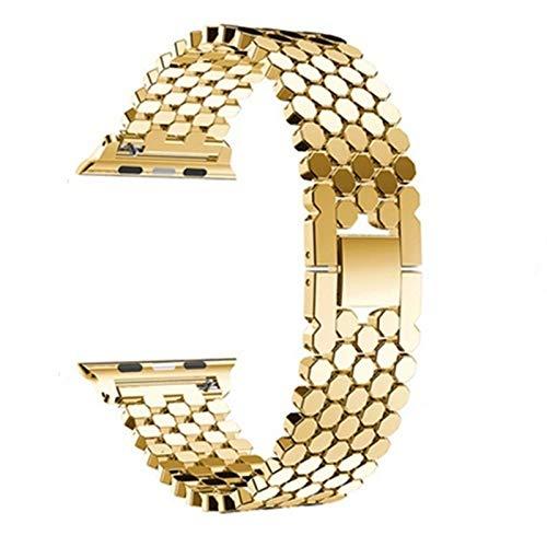 ZLRFCOK Correa para Apple Watch Band 44 mm 40 mm para Iwatch Band 42 mm 38 mm acero inoxidable pulsera metal para series 6 5 4 3,38/44 mm (color de la correa: oro, ancho de la correa: 38 mm 40 mm)