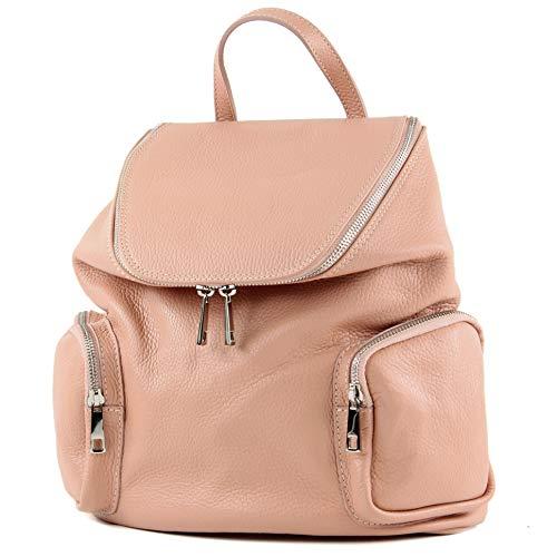 modamoda de - T175 - ital Damen Rucksack Tasche aus Leder, Farbe:Rosabeige dunkel