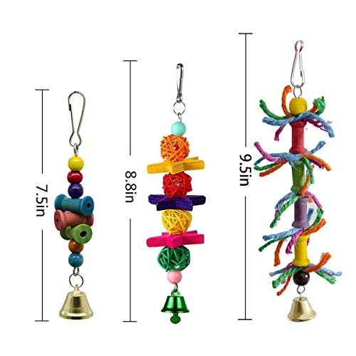 SHANTU 10 Packs Bird Swing Chewing Toys- Parrot Hammock Bell Toys Parrot Cage Toy Bird Perch with Wood Beads Hanging for Small Parakeets, Cockatiels, Conures, Finches,Budgie,Parrots, Love Birds
