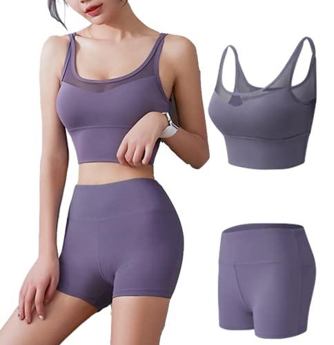 CK CrisKat Mujer Conjunto de Ropa Deportiva Secado Rápido Top y Pantalones Cortos Set 2 Piezas Ropa de Fitness para Gimnasio Yoga de Entrenamiento (S, Morado2)