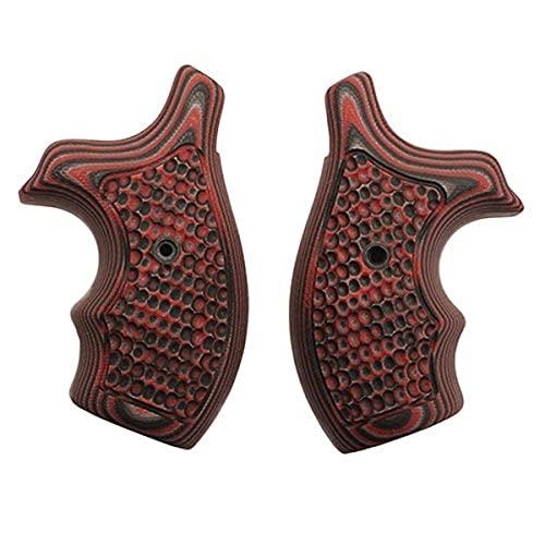 Hogue 61639 S&W J Frame Round Butt Grip, Bantam Piranha G-10 G-Mascus Red Lava