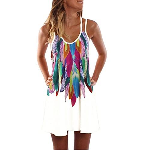 Vestido Playa Mujer Verano Estampado De Plumas Cuello Bajo Correas Hombro Dobles Mujer Vestido Temperamento Informal Personalidad Moda Transpirable Vacaciones Mujer Falda Liga A-White 3XL