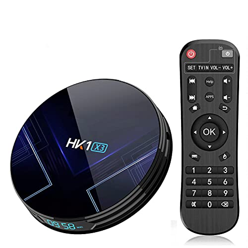 GEQWE TV Box Android 9.0 [4GB + 128GB] HK1 X3 4K / 8K Smart TV Box Amlogic S905 X3 Chipset 2.4G / 5G Dual WiFi 100 / 1000M H.265 Decodificación USB3.0 Smart TV Box,4gb+64gb