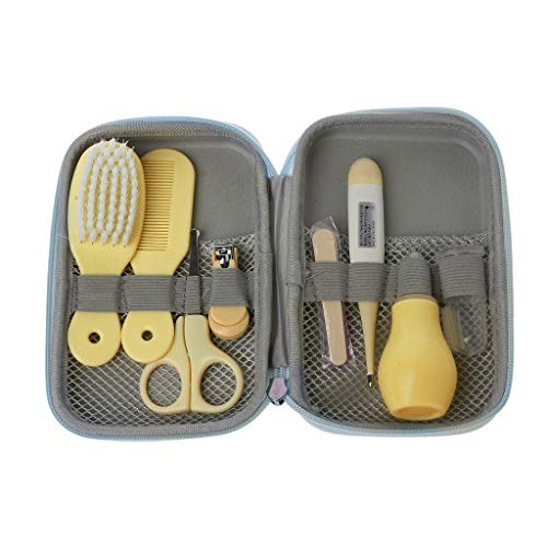 Mentin Baby Pflegeset | 8-teiliges Baby Pflege Produkte | Baby Pflegeset Erstausstattung | Nagel und Nasen Pflege mit Tasche mit Handtasche Geeignet für Reisen Oder im Freien (Gelb)