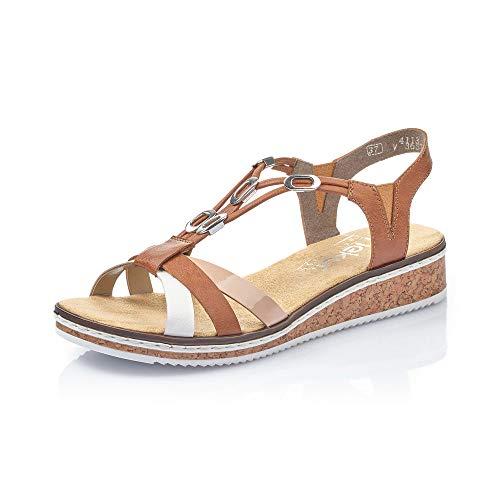 Rieker Femme Sandales V3657, Dame Sandales compensées,Sandales compensées,Chaussures d'été,Confortable,Plat,Bianco,40 EU / 6,5 UK