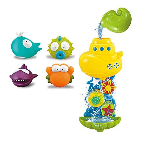 Momola Bébé Enfants Bain Jouets Waterwheel Douche Spray Eau Baignoire Salle de Bain Jouet - Jouet d'entonnoir d'eau de Salle de Bain avec 4 Silicone Toy - Jouets de Bain Puzzle Enfants