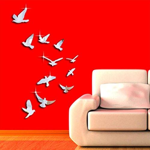 wandaufkleber wandtattoos Ronamick 11 STÜCKE Schöne Vögel Silber Spiegel Dekoration Haus Zimmer Kunst 3D DIY Wandaufkleber Wandtattoo Wandaufkleber Sticker Wanddeko (Silber)