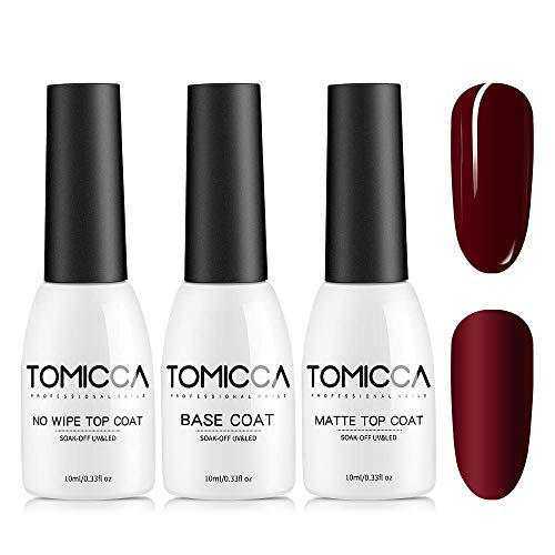 TOMICCA Base Coat et Top Coat Semi Permanent Matte Top Coat 3pcs 10ml,Vernis Semi Permanent Base et Top Coat,Primer Ongle Gel UV,
