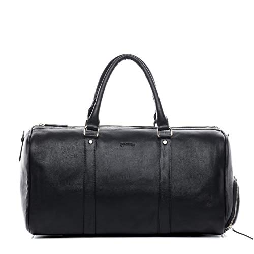 BACCINI Sporttasche mit separatem Schuh-Fach Hemden echt Leder Florian groß Reisetasche Weekender Ledertasche Unisex schwarz