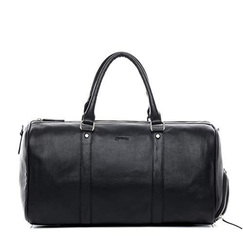 BACCINI borsa viaggio tracolla vera pelle FLORIAN grande borsone bagaglio a mano sportiva 45 l duffle bag weekend uomo donna nero