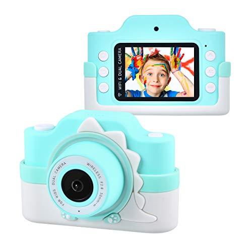 """Tyhbelle WiFi Kinderkamera mit Cartoon-Schutzhülle 24 Megapixel HD Digital Kamera 2.0\"""" IPS HD-Bildschirm mit 2 Objektive ideal für Jungen und Mädchen Geburtstagsgeschenk (Blau Dinosaurier Anzug)"""