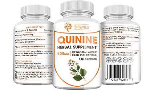 SIRUNES Quinine Capsules - Cinchona Officinalis Bark Herbal Supplement for Leg Cramping Relief, Cramp Defense and Overall Digestive Health - All-Natural Quinine Pills, 500mg, 120 Tablets