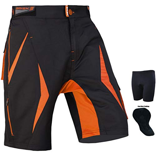 Brisk - Pantaloncini MTB Coolamax Imbottiti, Fodera Interna Rimovibile, Stile Libero per Adulti, Colore: Nero/Arancione 2003, S